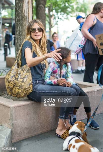 Heidi Klum and daughter Lou Sulola Samuel are seen on June 29 2017 in New York City
