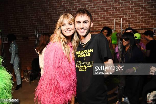 Heidi Klum and Designer Christian Cowan attends Christian Cowan x The Powerpuff Girls Runway Show at City Market Social House on March 08 2019 in Los...