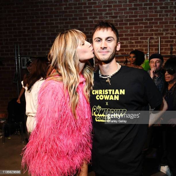 Heidi Klum and Designer Christian Cowan attends Christian Cowan x The Powerpuff Girls Runway Show at City Market Social House on March 08 2019 in Los...