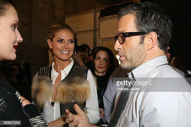 Heidi Klum and designer Kenneth Cole prepares backstage at the Kenneth Cole Collection Fall 2013 fashion show during MercedesBenz Fashion Week at 537...