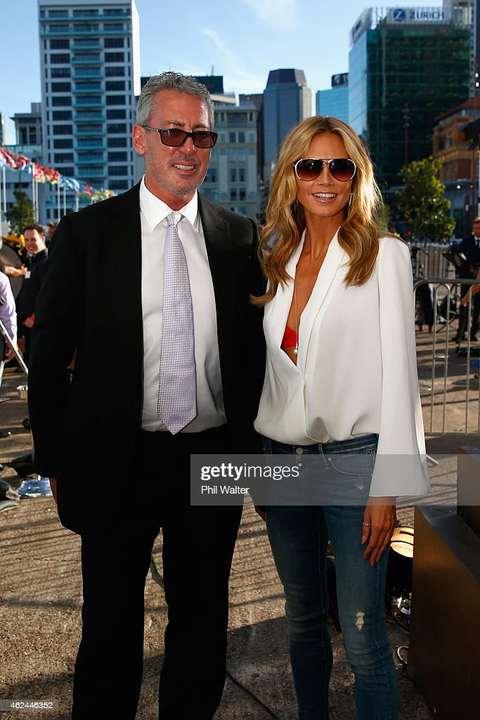 Heidi Klum (R) and Eric Watson (L) arrive for the 2015 NRL season launch at Shed 10 on January 29, 2015 in Auckland, New Zealand.
