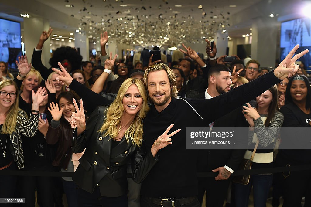 Heidi Klum and Gabriel Aubry attend the Glamour and INC International Concepts Denim Dash with Heidi Klum at Herald Square on October 30, 2015 in New York City.