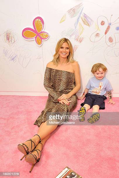 Heidi Klum and Gavin Corrigan attend Heidi Klum unveils her Truly Scrumptious collection at Babies R Us in NYC at Babies on August 15 2012 in New...
