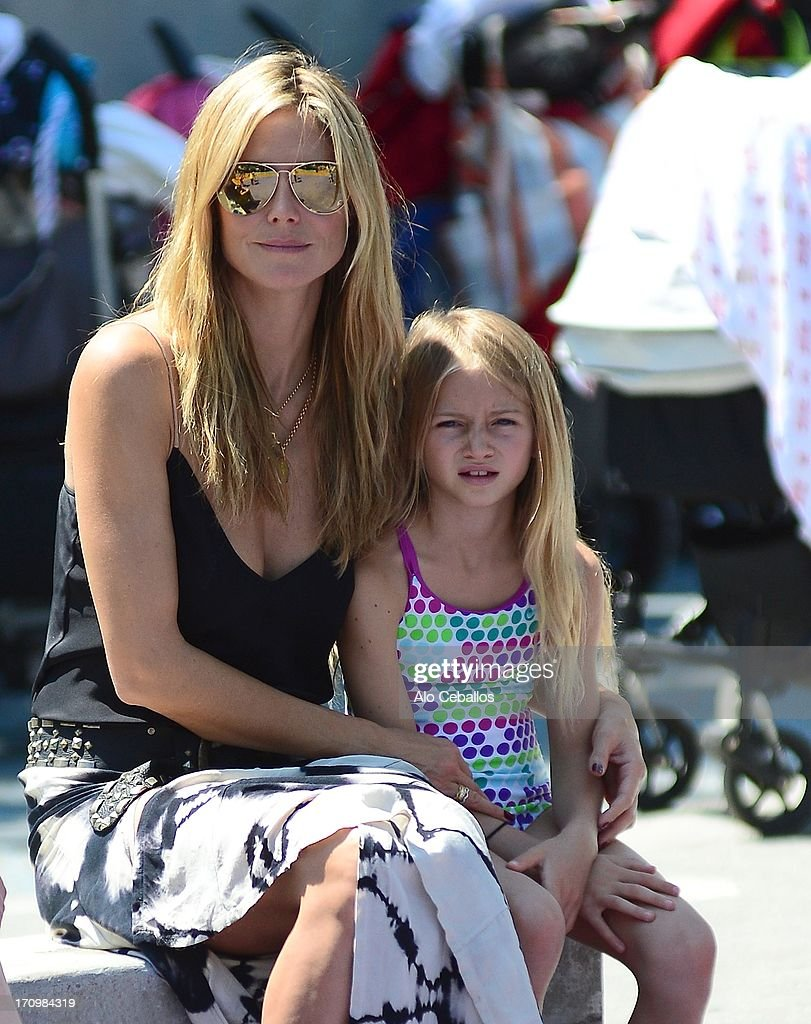 Heidi Klum and Helene Boshoven Samuel are seen in Tribeca Hudson River Park on June 20, 2013 in New York City.
