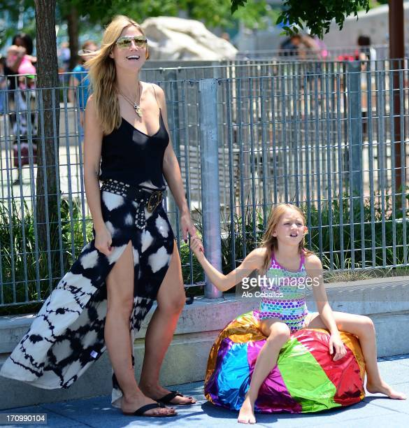 Heidi Klum and Helene Boshoven Samuel are seen in Tribeca Hudson River Park on June 20, 2013 in New York City.