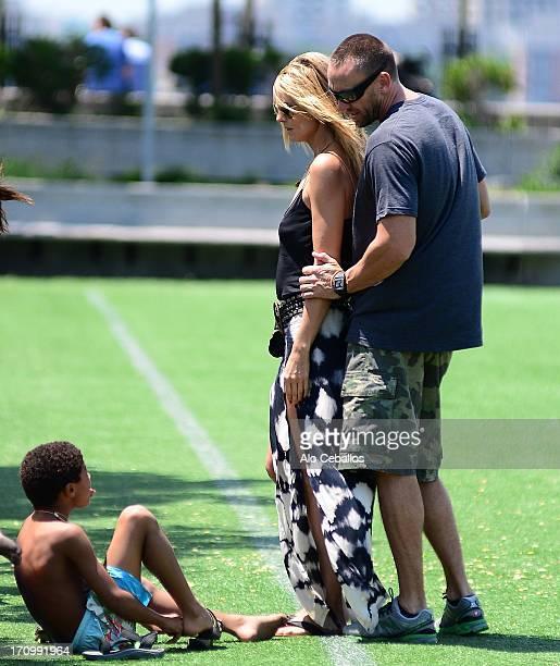 Heidi Klum and Henry Gunther Ademola Dashtu Samuel and Martin Kristen are seen in Tribeca Husdon River Park on June 20 2013 in New York City