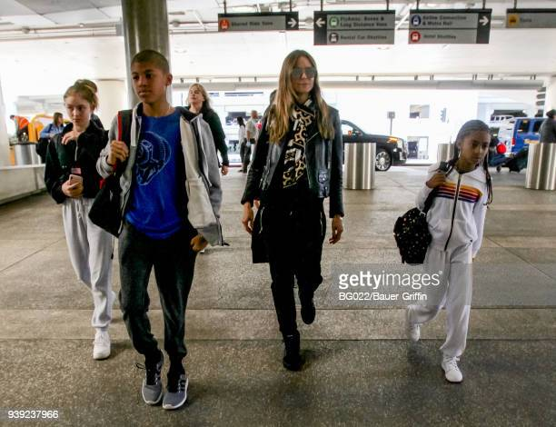 Heidi Klum and her children Helene Henry and Lou are seen on March 27 2018 in Los Angeles California