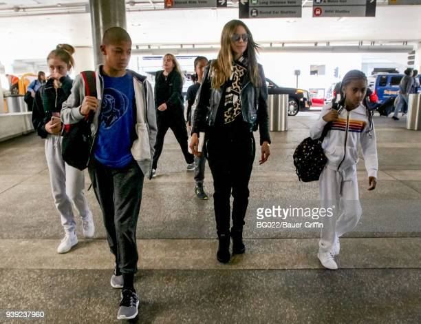 Heidi Klum and her children Helene Henry Johan and Lou are seen on March 27 2018 in Los Angeles California