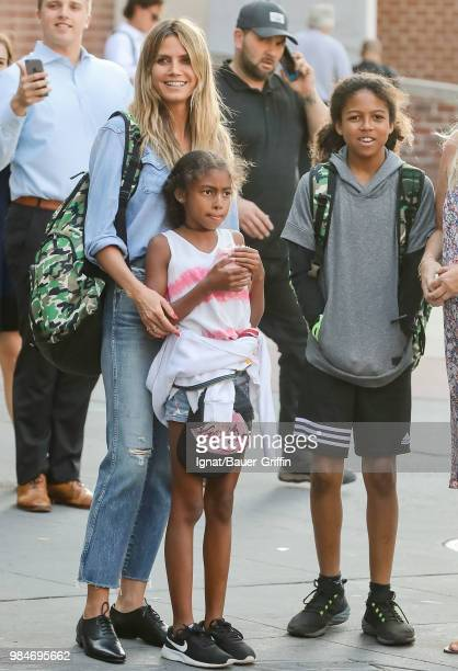 Heidi Klum and her children Johan and Lou are seen on June 26, 2018 in New York City.