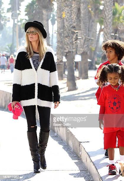 November 10: Heidi Klum and her children, Johan Samuel and Lou Samuel are seen on November 10, 2013 in Los Angeles, California.