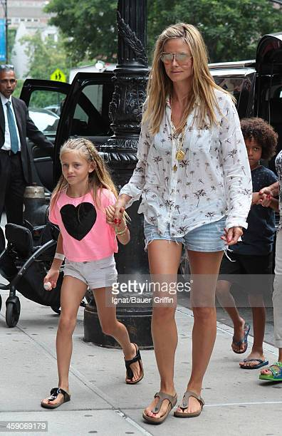 Heidi Klum and her children Leni Samuel and Johan Samuel are seen on July 09 2013 in New York City