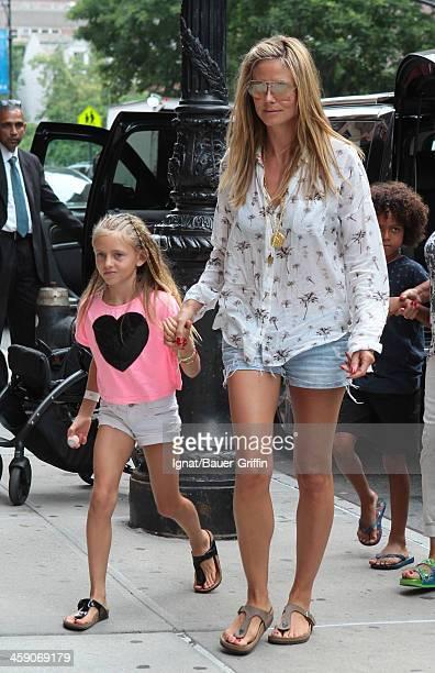 Heidi Klum and her children, Leni Samuel and Johan Samuel, are seen on July 09, 2013 in New York City.