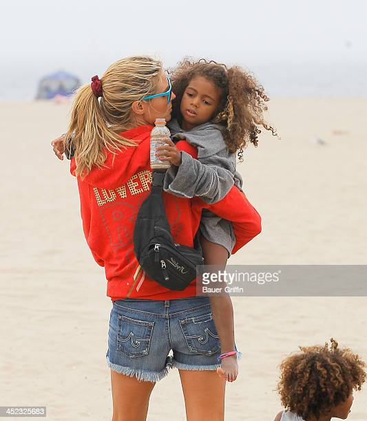 Heidi Klum and her children Lou Samuel and Johan Samuel are seen at the beach on August 25 2013 in Los Angeles California