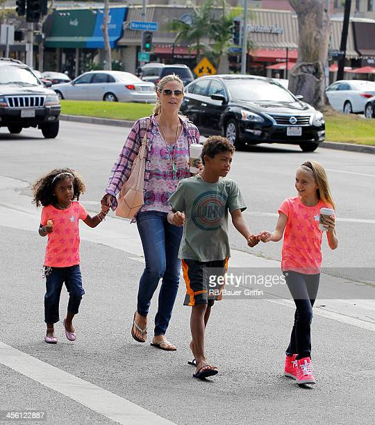 Heidi Klum and her children Lou Samuel, Henry Samuel and Leni Samuel are seen on August 31, 2013 in Los Angeles, California.