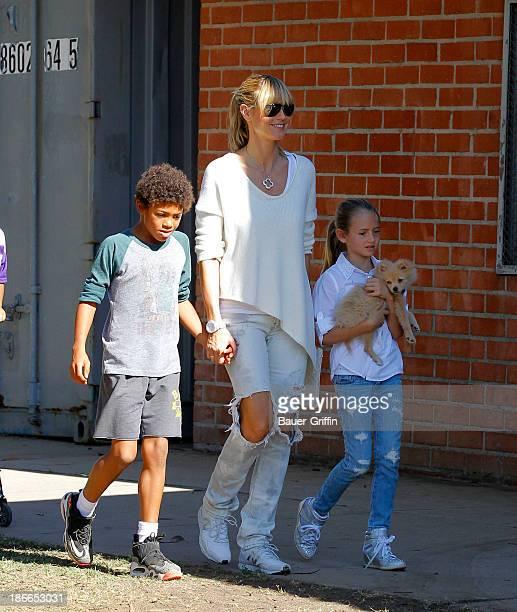Heidi Klum and her children son Henry Samuel and daughter Leni Samuel are seen on November 02 2013 in Los Angeles California