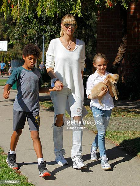 Heidi Klum and her children son Henry Samuel and daughter Leni Samuel are seen on November 02 2013 in Los Angeles California