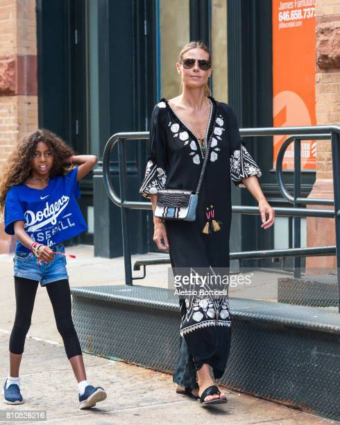 Heidi Klum and her daughter Lou Samuel seen in TriBeCa on July 7 2017 in New York City