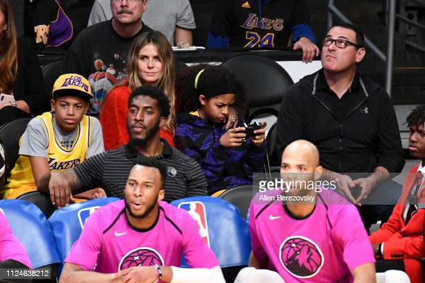 Heidi Klum and her kids Henry Samuel and Lou Samuel attend a basketball game between the Los Angeles Lakers and the Minnesota Timberwolves at Staples...