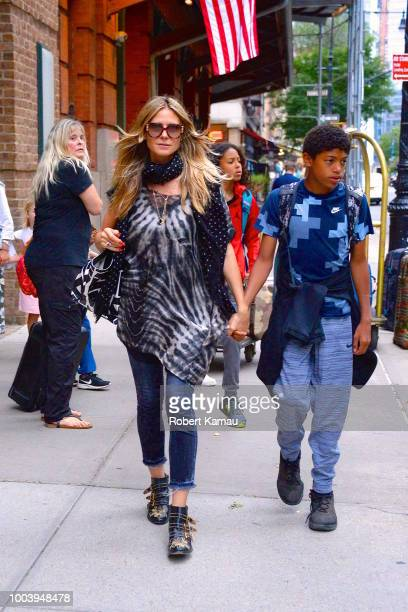 Heidi Klum and her kids seen out and about in Manhattan on July 21 2018 in New York City