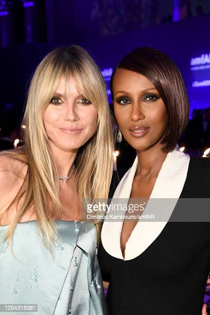 Heidi Klum and Iman attend the 2020 amfAR New York Gala on February 05 2020 in New York City