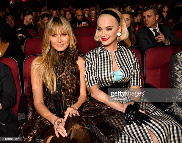 Heidi Klum and Katy Perry attend the 2019 iHeartRadio Music Awards which broadcasted live on FOX at the Microsoft Theater on March 14 2019 in Los...