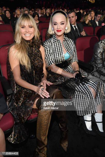 Heidi Klum and Katy Perry attend the 2019 iHeartRadio Music Awards which broadcasted live on FOX at Microsoft Theater on March 14 2019 in Los Angeles...