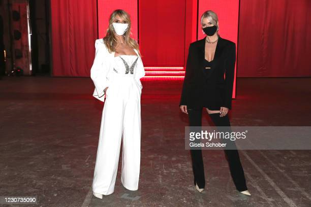 Heidi Klum and Lena Gercke attend the ABOUT YOU fashion week, AYFW, show production at Kraftwerk on January 22, 2021 in Berlin, Germany.