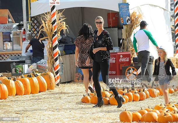 Heidi Klum and Leni Klum are seen at the Mr Bones pumpkin patch on October 06 2012 in Los Angeles California