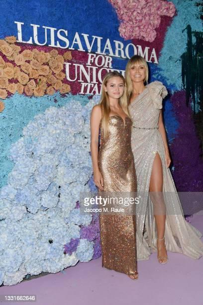 Heidi Klum and Leni Klum attend the LuisaViaRoma for Unicef event at La Certosa di San Giacomo on July 31, 2021 in Capri, Italy.