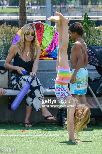 June 21: Heidi Klum and Leni Samuel, Henry Samuel are seen on June 21, 2013 in New York City.