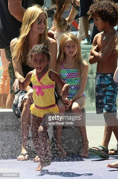 June 21: Heidi Klum and Leni Samuel, Johan Samuel and Lou Samuel are seen on June 21, 2013 in New York City.