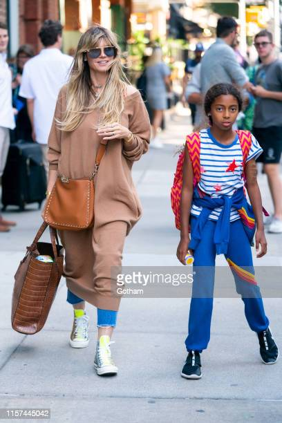 Heidi Klum and Lou Samuel are seen in Tribeca on June 21, 2019 in New York City.