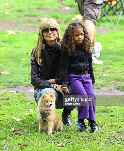 Heidi Klum and Lou Samuel are seen on February 08 2014 in Los Angeles California