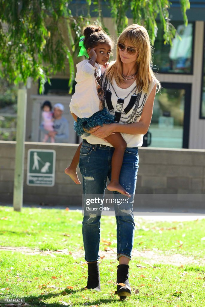 Heidi Klum and Lou Samuel are seen on January 18, 2014 in Los Angeles, California.