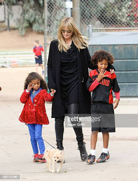 November 16: Heidi Klum and Lou Samuel with Johan Samuel are seen on November 16, 2013 in Los Angeles, California.