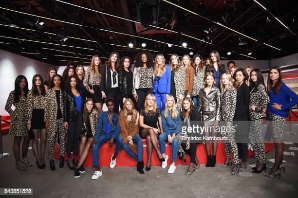 Heidi Klum and Louise Roe pose with models during the Esmara By Heidi Klum Lidl Fashion Presentation at New York Fashion Week #Letswow at ArtBeam on...