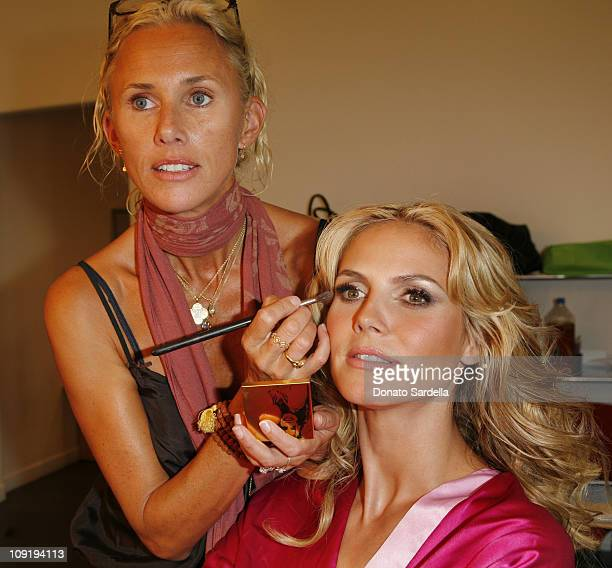Heidi Klum and makeup artist Linda Hay on the set of photo shoot for Victoria's Secret Heidi Klum Very Sexy Makeup limited edition on September 7...