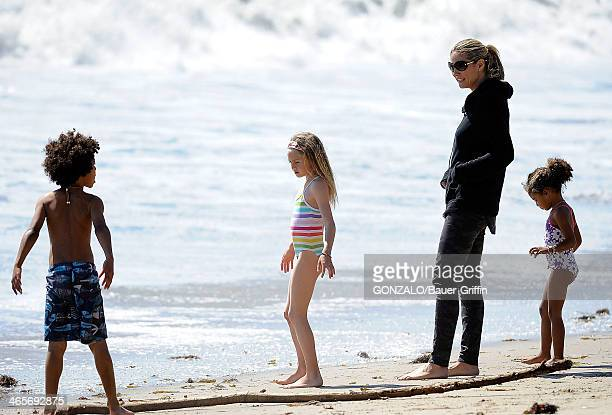 Heidi Klum and Martin Kristen are seen at the beach with her children Leni Samuel Johan Samuel and Lou Samuel on March 10 2013 in Los Angeles...