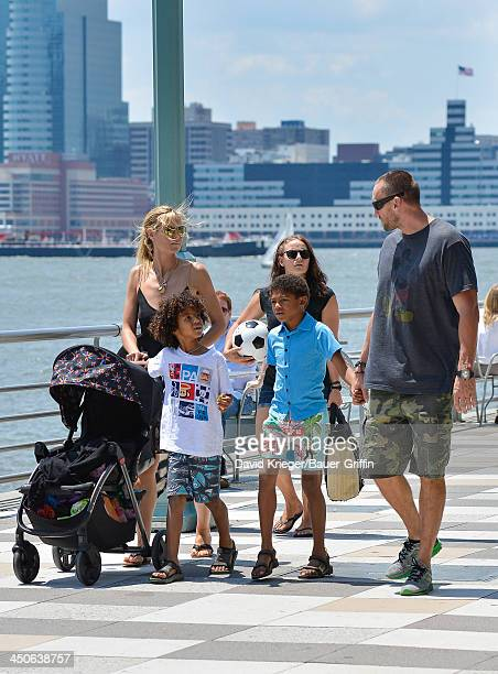 Heidi Klum and Martin Kristen with her children Henry Samuel Johan Samuel are seen on June 21 2013 in New York City