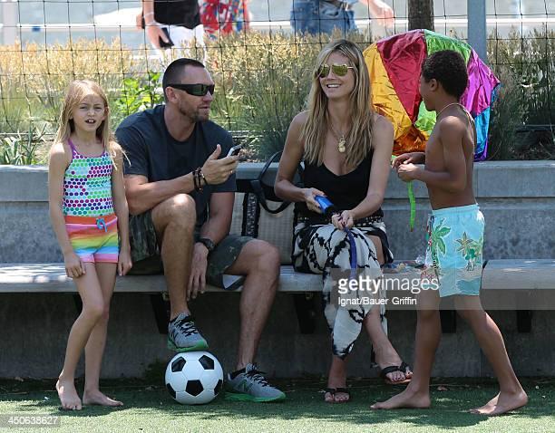 June 21: Heidi Klum and Martin Kristen with her children Leni Samuel and Henry Samuel are seen on June 21, 2013 in New York City.