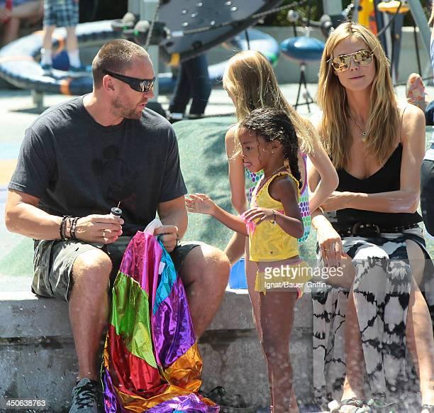 June 21: Heidi Klum and Martin Kristen with her children Leni Samuel and Lou Samuel are seen on June 21, 2013 in New York City.