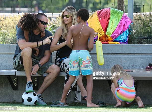 Heidi Klum and Martin Kristen with her children Leni Samuel Henry Samuel and Johan Samuel are seen on June 21 2013 in New York City