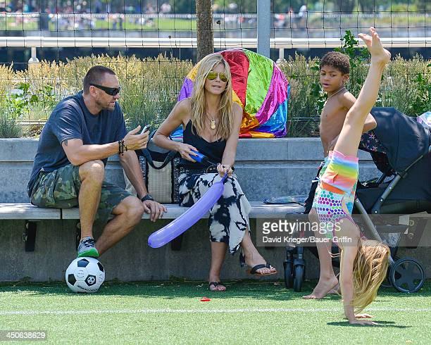 June 21: Heidi Klum and Martin Kristen with her children Leni Samuel, Henry Samuel are seen on June 21, 2013 in New York City.