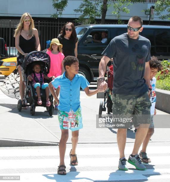 June 21: Heidi Klum and Martin Kristen with her children Leni Samuel, Henry Samuel, Johan Samuel and Lou Samuel are seen on June 21, 2013 in New York...
