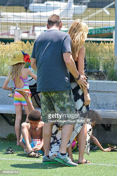 Heidi Klum and Martin Kristen with her children Leni Samuel Henry Samuel Johan Samuel are seen on June 21 2013 in New York City