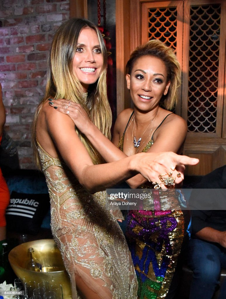 Heidi Klum (L) and Mel B attend the VMA after party hosted by Republic Records and Cadillac at TAO restaurant at the Dream Hotel on August 27, 2017 in Los Angeles, California.