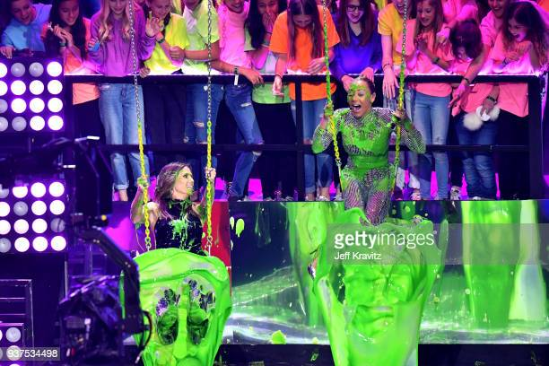 Heidi Klum and Mel B speak onstage at Nickelodeon's 2018 Kids' Choice Awards at The Forum on March 24, 2018 in Inglewood, California.