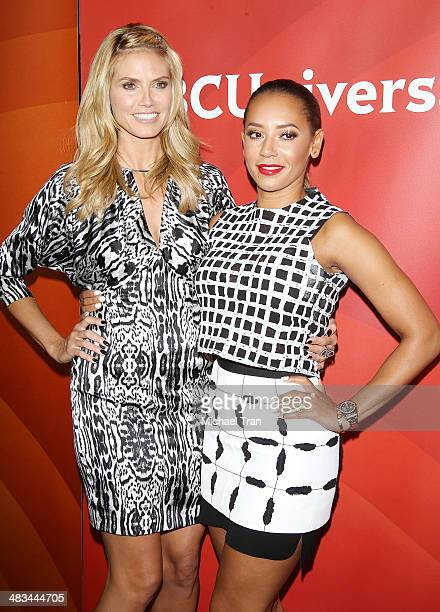 Heidi Klum and Melanie Brown arrive at the NBCUniversal's 2014 Summer Press Day held at Langham Hotel on April 8, 2014 in Pasadena, California.