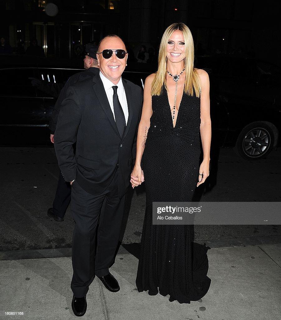 Heidi Klum and Michael Kors are seen on February 6, 2013 in New York City.