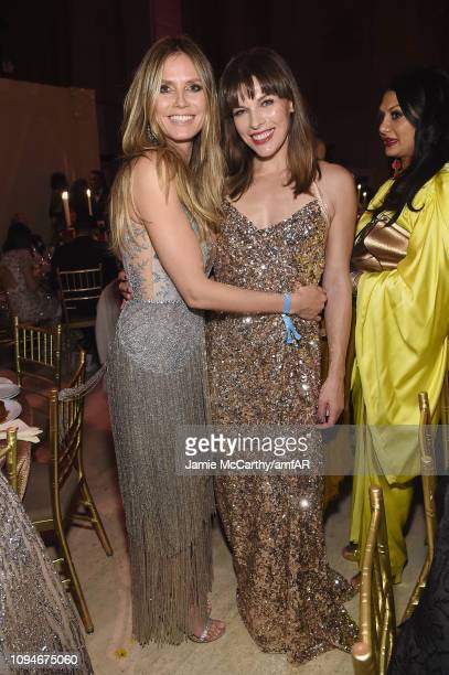 Heidi Klum and Milla Jovovich attend the amfAR New York Gala 2019 at Cipriani Wall Street on February 6 2019 in New York City